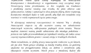 Więcej o: Życzenia dla Nauczycieli od Wicestarosty Powiatu Nowotarskiego
